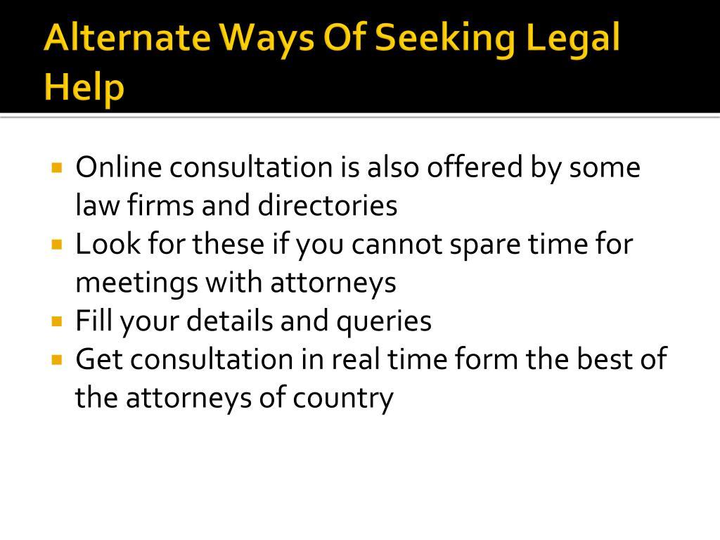 Alternate Ways Of Seeking Legal Help