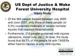 us dept of justice wake forest university hospital injury study74