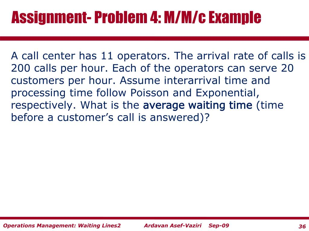 Assignment- Problem 4: M/M/c Example