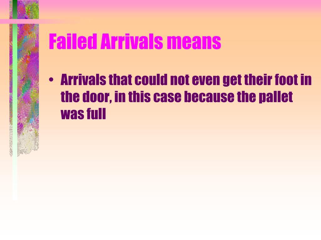 Failed Arrivals means