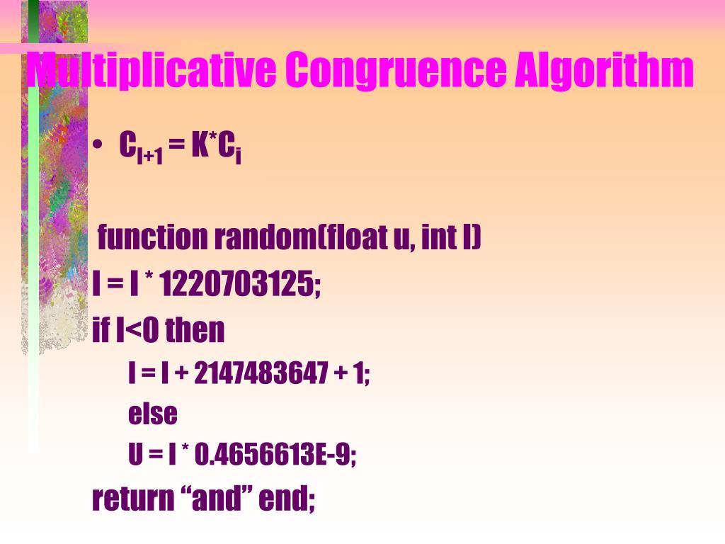Multiplicative Congruence Algorithm