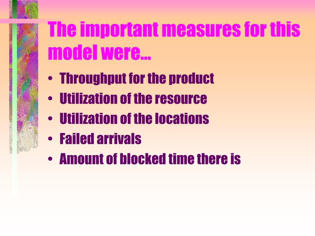 The important measures for this model were…