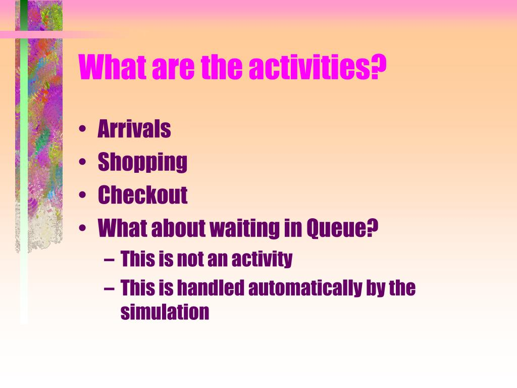 What are the activities?