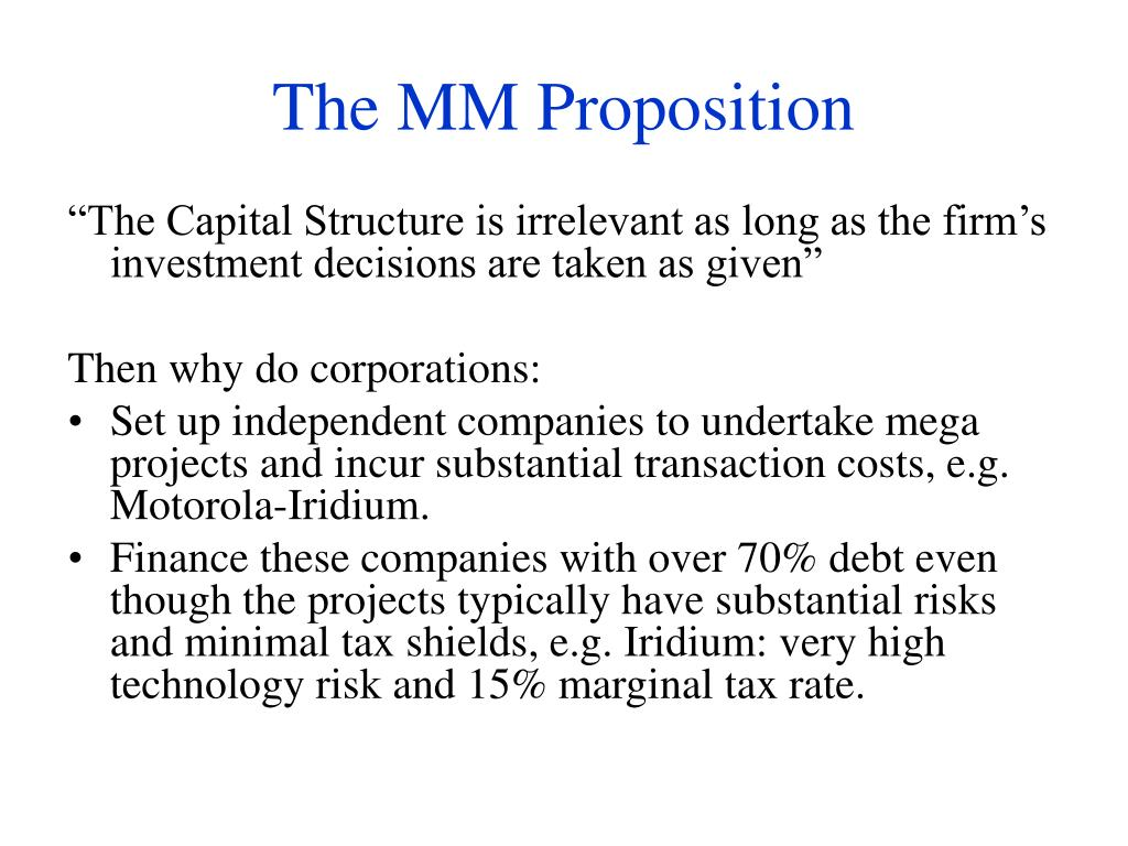 The MM Proposition