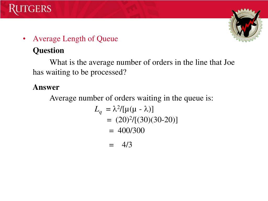 Average Length of Queue