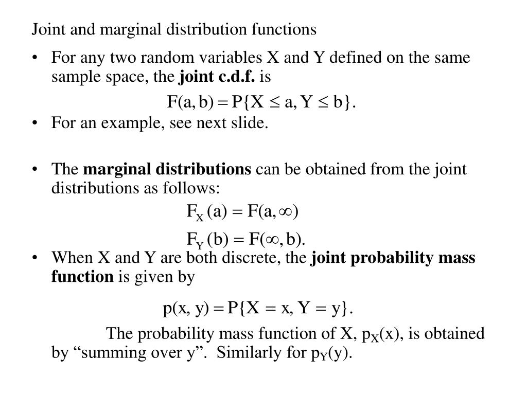 joint and marginal distribution functions l.