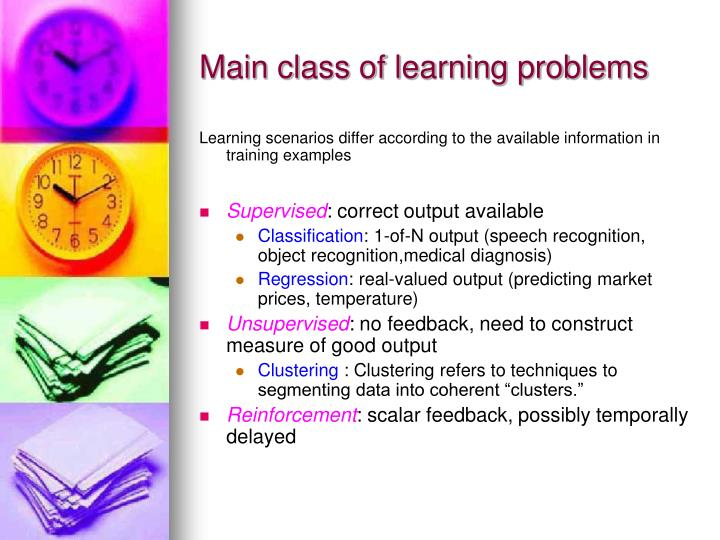 Main class of learning problems
