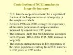 contribution of nce launches to longevity increase