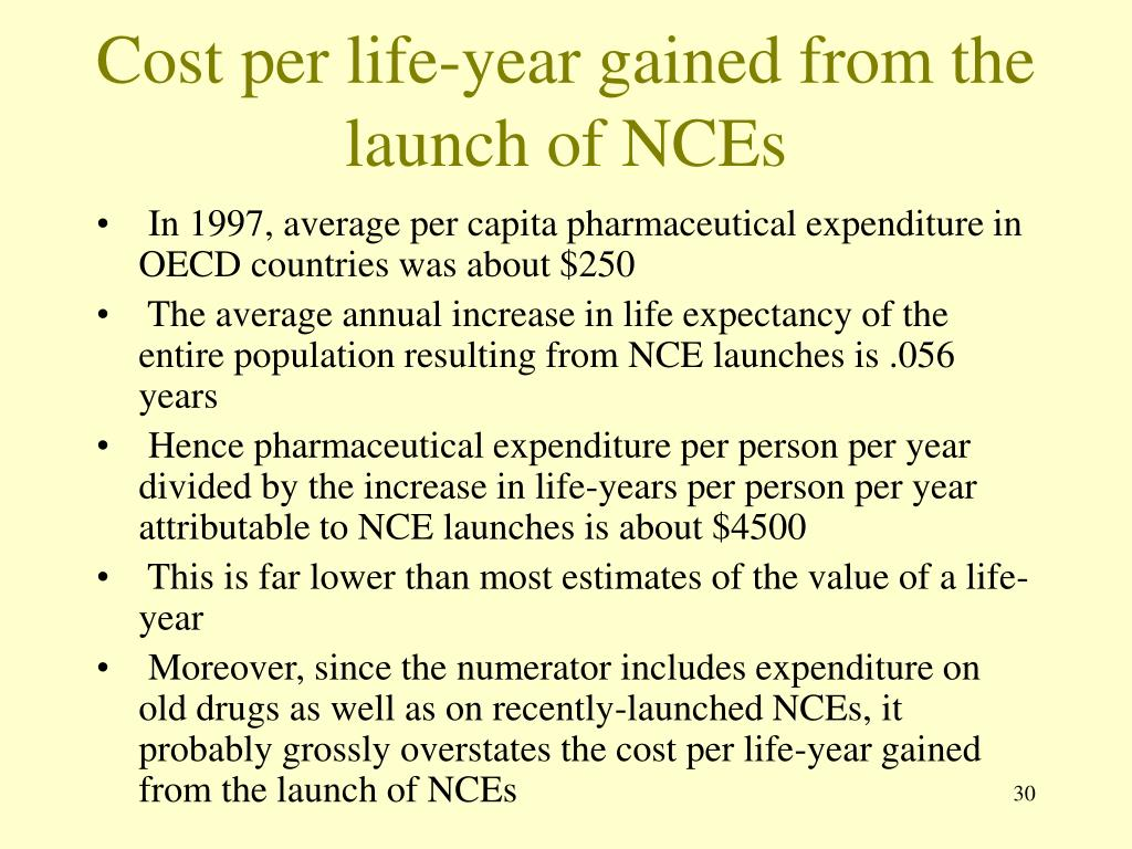 Cost per life-year gained from the launch of NCEs