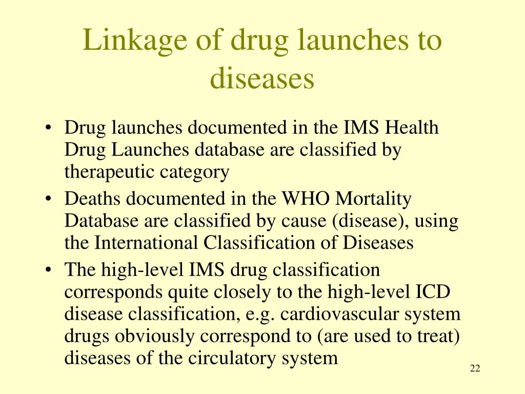 Linkage of drug launches to diseases