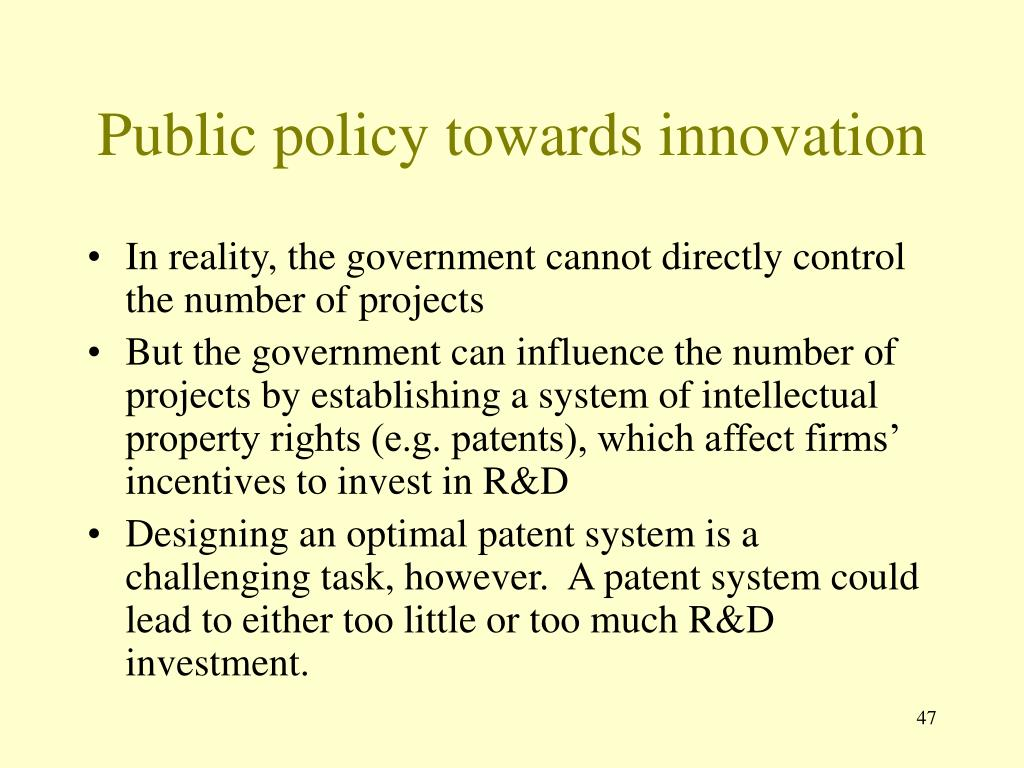 Public policy towards innovation