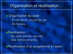 organisation et r utilisation