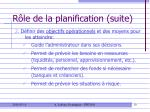 r le de la planification suite