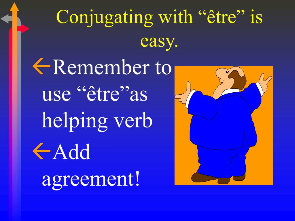 """Conjugating with """"être"""" is easy."""