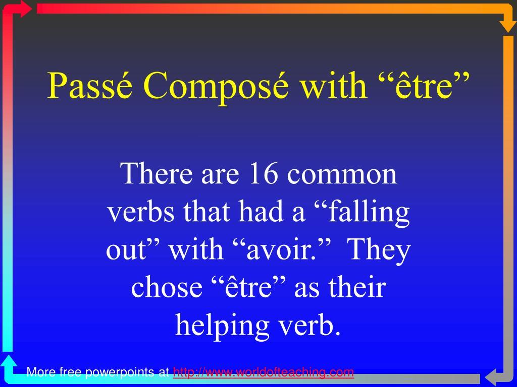 """Passé Composé with """"être"""""""