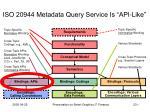 iso 20944 metadata query service is api like
