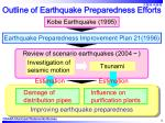 outline of earthquake preparedness efforts