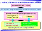 outline of earthquake preparedness efforts12