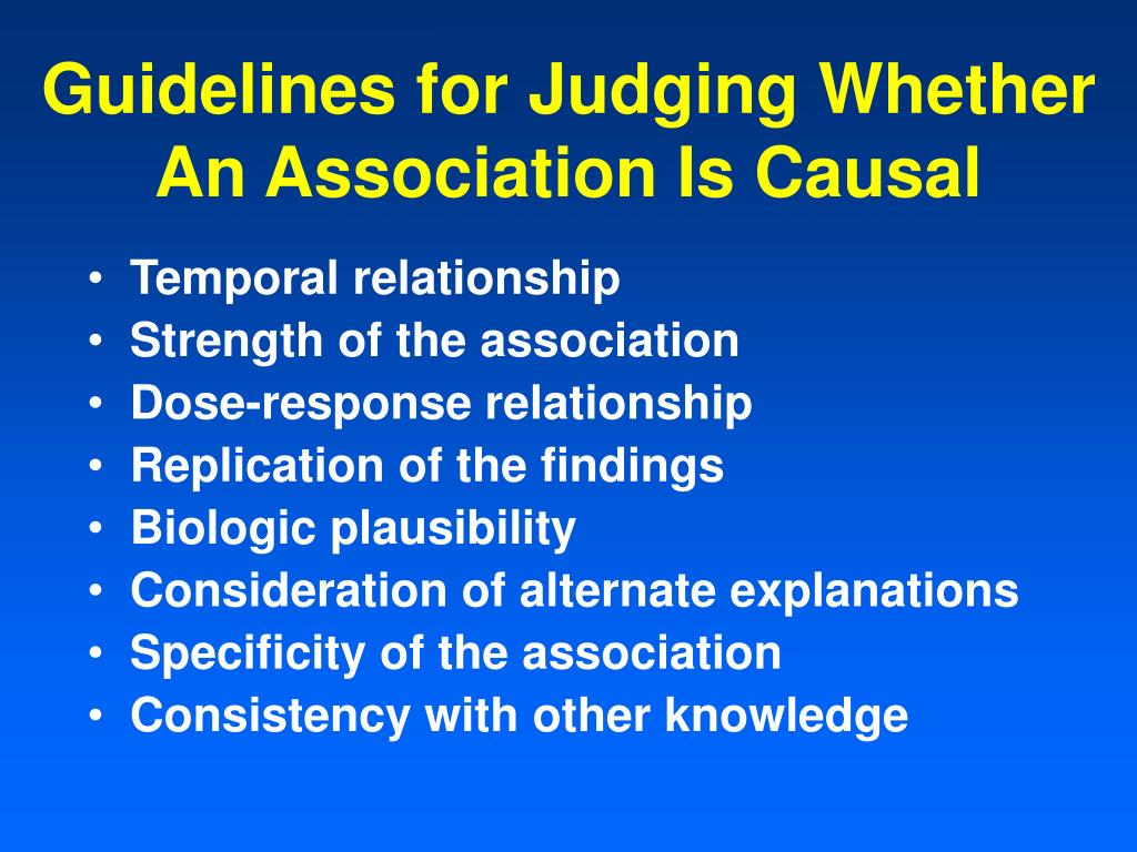 Guidelines for Judging Whether An Association Is Causal
