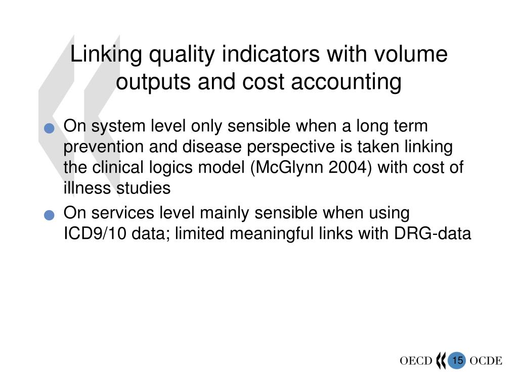 Linking quality indicators with volume outputs and cost accounting