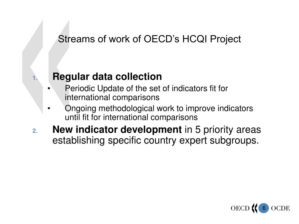 Streams of work of OECD's HCQI Project