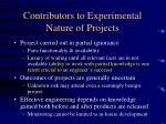 contributors to experimental nature of projects