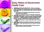 early history of government health care12