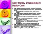 early history of government health care14