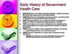 early history of government health care8