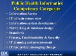 public health informatics competency categories