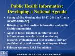 public health informatics developing a national agenda