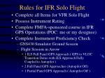 rules for ifr solo flight