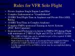 rules for vfr solo flight
