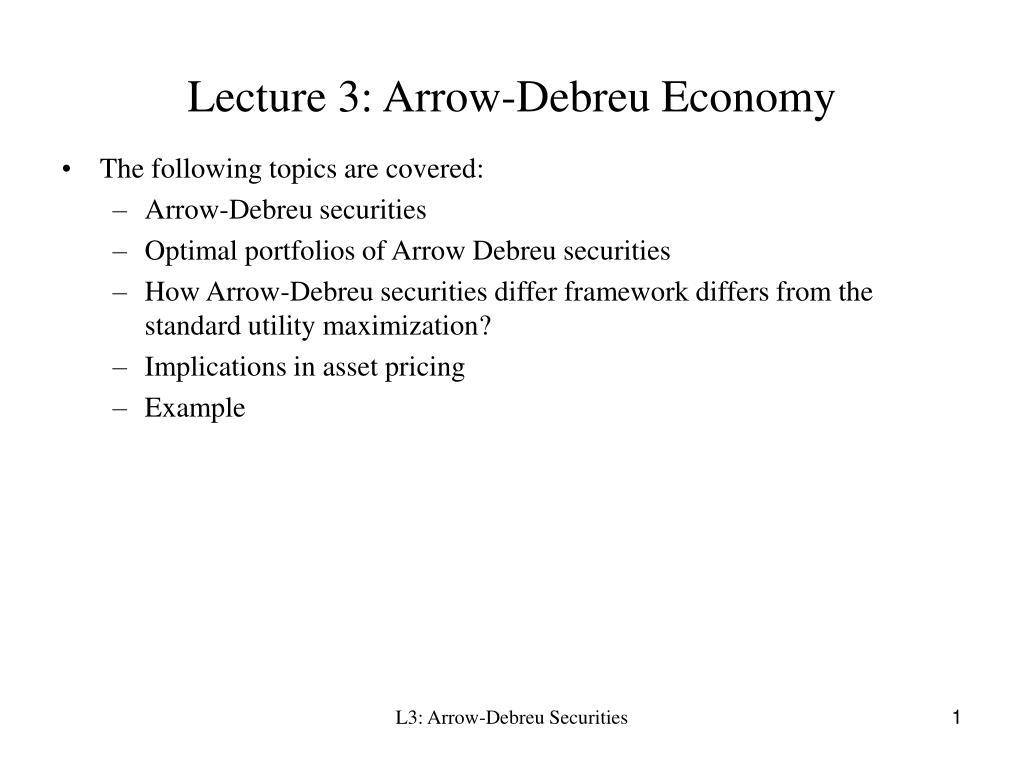 lecture 3 arrow debreu economy l.