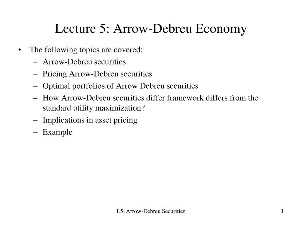 lecture 5 arrow debreu economy l.