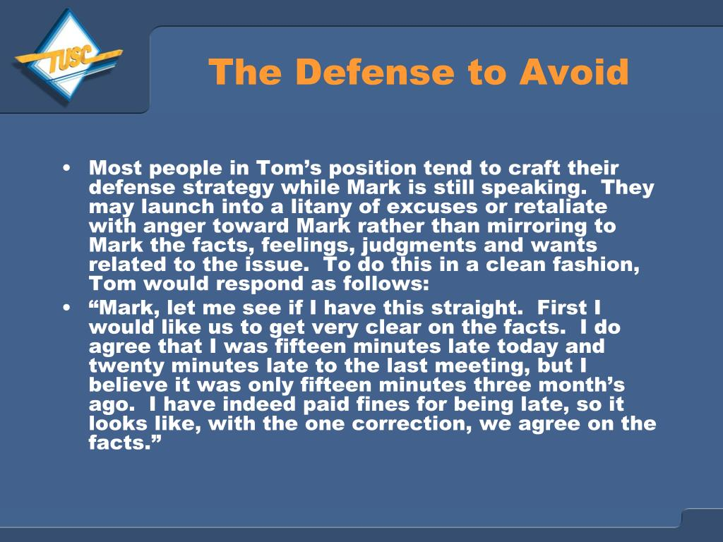 The Defense to Avoid