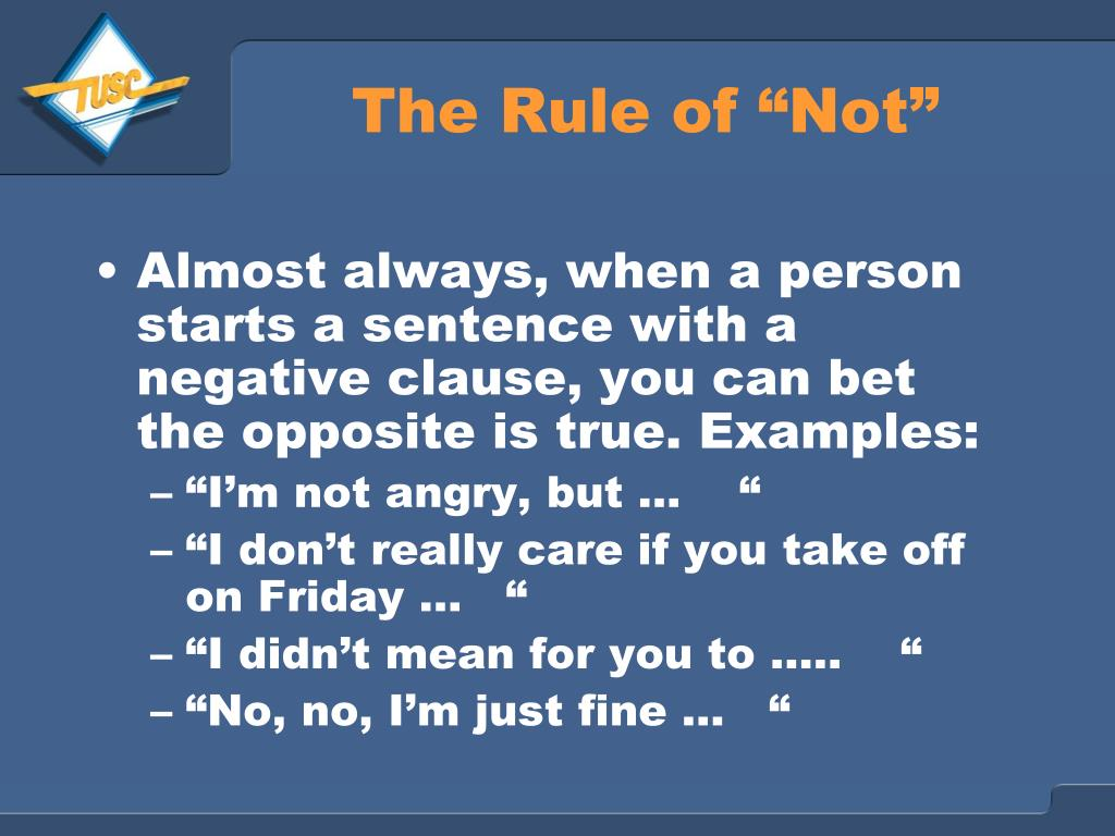 "The Rule of ""Not"""
