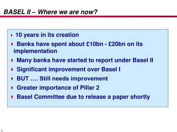 Basel ii where we are now