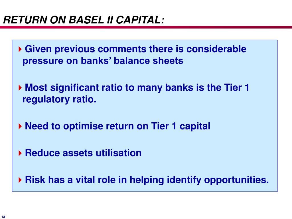 RETURN ON BASEL II CAPITAL: