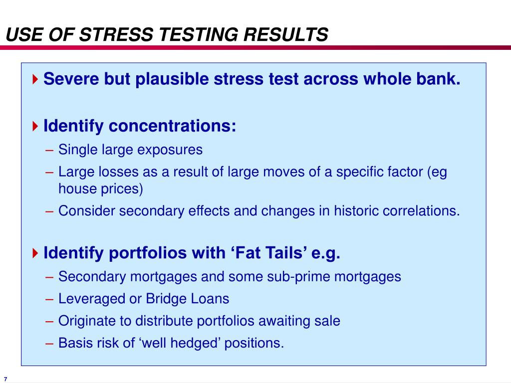USE OF STRESS TESTING RESULTS