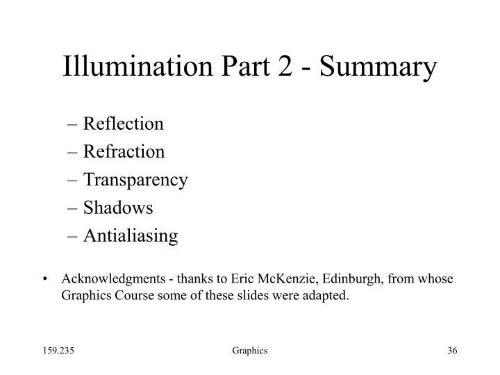 Illumination Part 2 - Summary