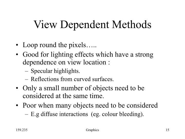View Dependent Methods