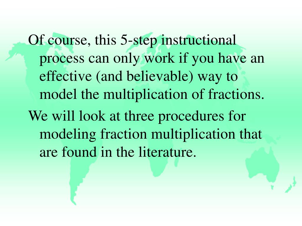 Of course, this 5-step instructional process can only work if you have an effective (and believable) way to model the multiplication of fractions.