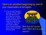 here s an excellent beginning by one of your classmates at arrington
