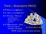 think brainstorm paco