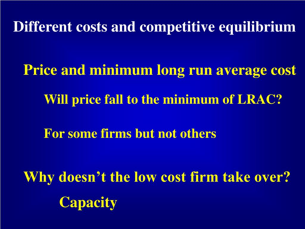 Different costs and competitive equilibrium