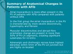 summary of anatomical changes in patients with afib
