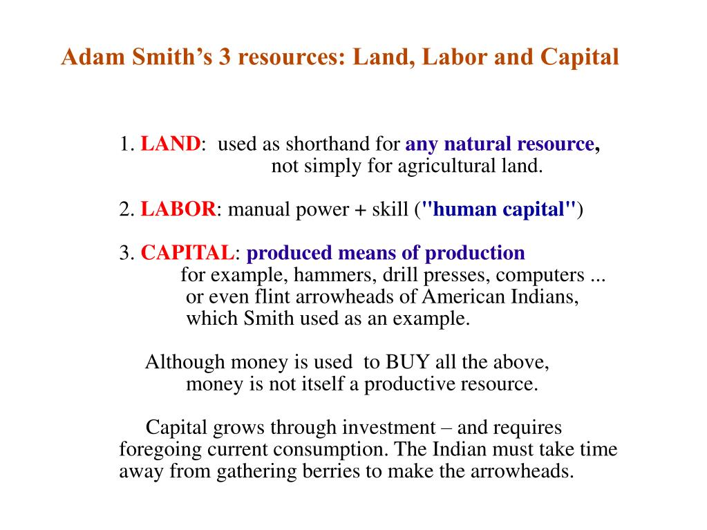 Adam Smith's 3 resources: Land, Labor and Capital