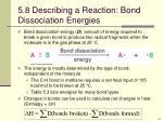 5 8 describing a reaction bond dissociation energies