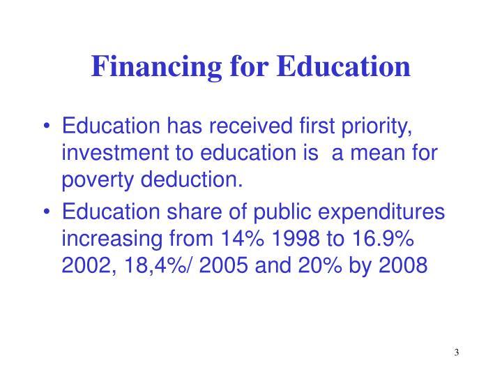 Financing for education